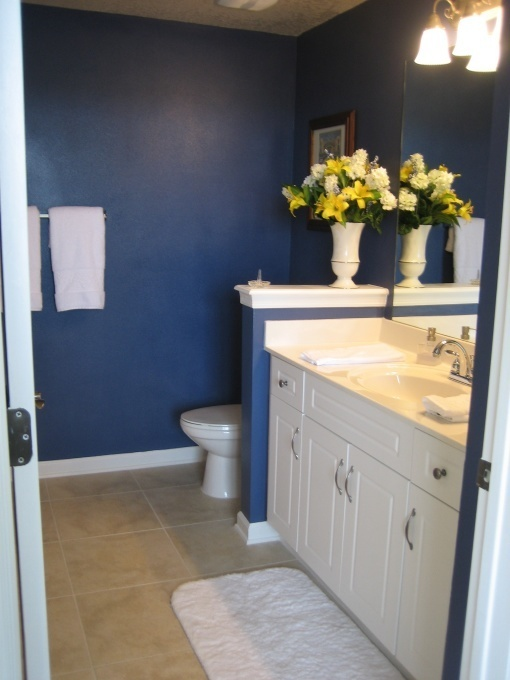dark blue bathroom homey things pinterest