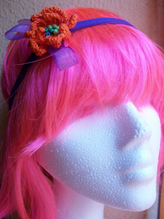 Crochet Elastic Hair Band : Crochet flower elastic hair-band with beads
