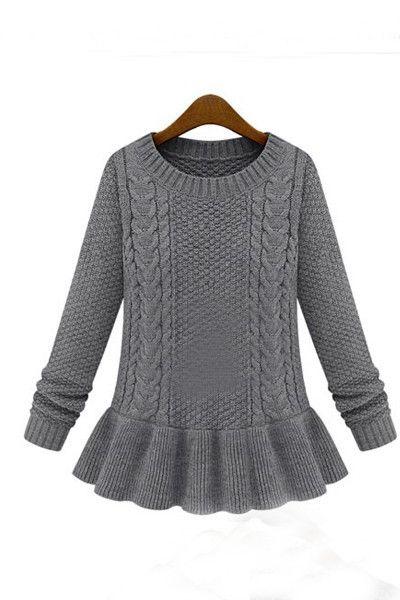 Knitting Pattern Peplum Cardigan : Peplum Cable Knit Sweater My Style Pinterest