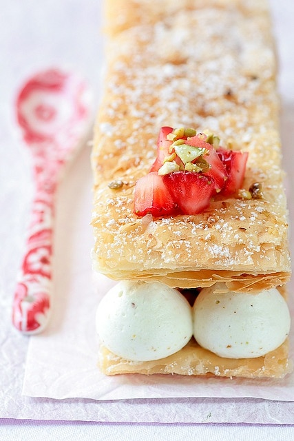Pistachio Strawberry Mille Feuilles by tartelette, via Flickr