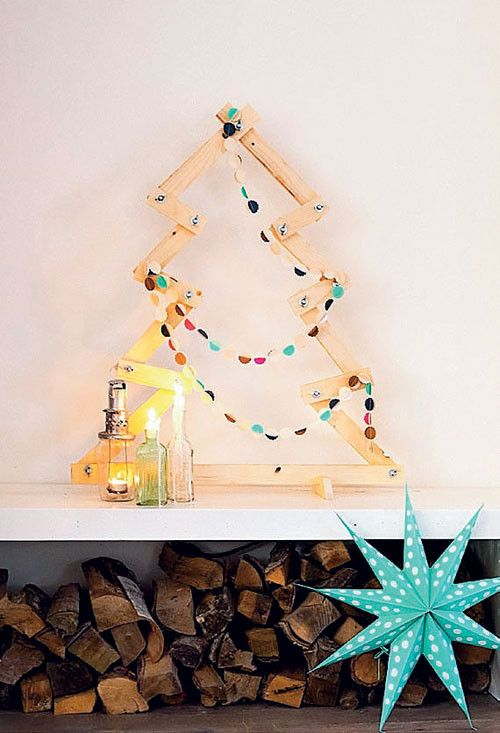 Houten kerstboom - Wooden christmastree - Kijk op www.101woonideeen.nl #tutorial #howto #holidayseason #christmas #DIY #decoration #xmas