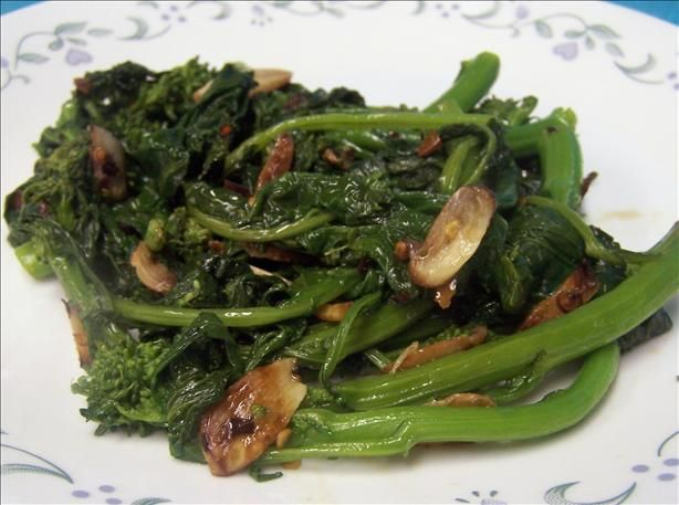 Rapini with garlic and red chile. Use fresh red chili and add a dash ...
