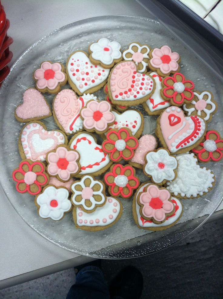 Valentine cookies decorated with royal icing.