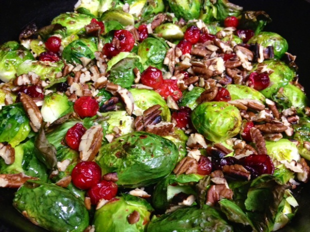 Brussels sprouts with cranberries, pecans, & gorgonzola in a balsamic ...