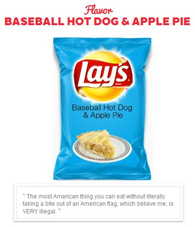 Baseball, Hot dogs, Apple pie potato chips No comment.