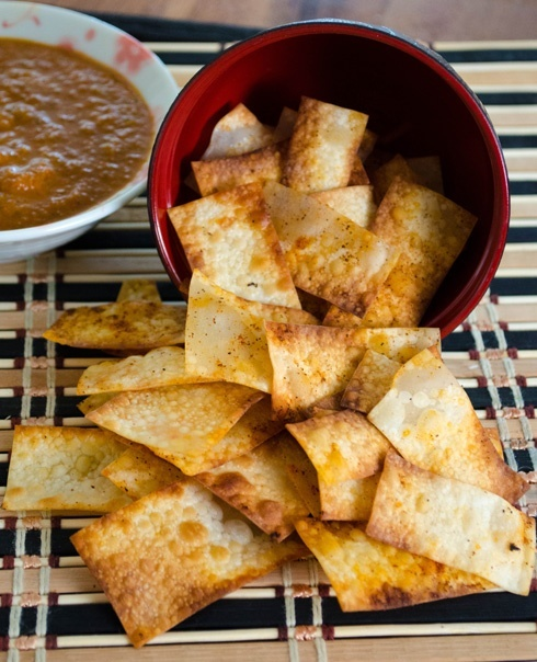 Chipotle Wonton Chips with Gochujang Salsa