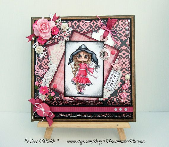 Comwitch Home Decor : Cute Halloween Witch - Handmade Canvas Decor by DreamtimeDesigns