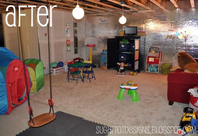 unfinished basement playroom