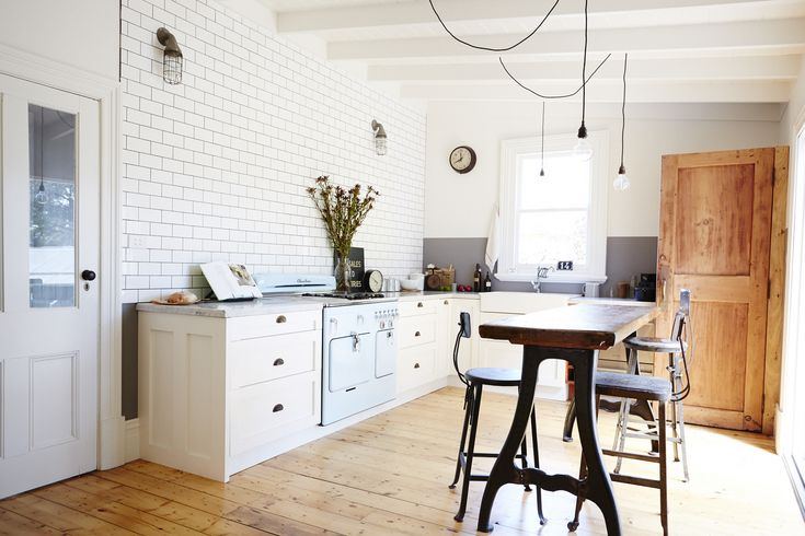 Rustic and sparse kitchen // country kitchen, blue stove