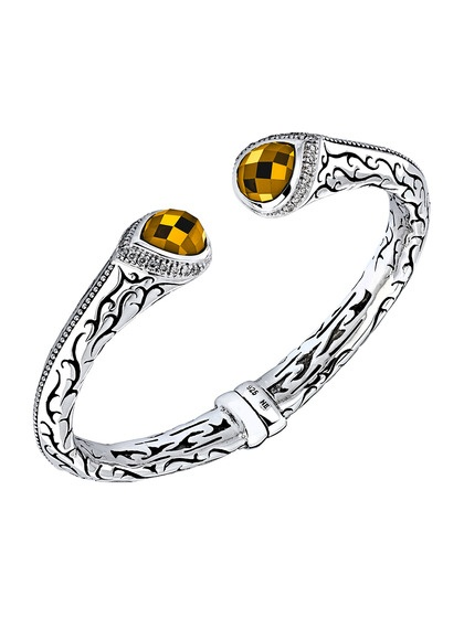 citrine  u0026 diamond hinged cuff bracelet