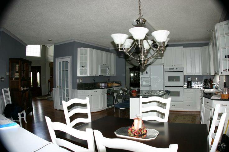 white cabinets blue counter kitchen  Tile Backsplash for Blue Pearl