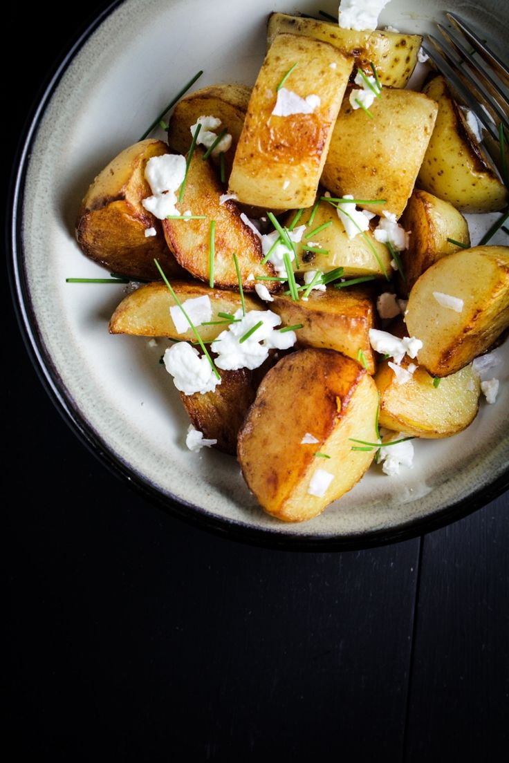 crispy sea salt amp vinegar potatoes with goat cheese amp chives via ...
