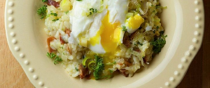 bacon and leek risotto with poached egg by framed cooks