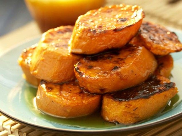 Maple-Glazed Grilled Sweet Potatoes-When dressed in a maple syrup ...