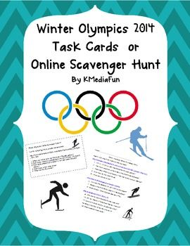 Winter olympics 2014 task cards or online scavenger hunt b i love this