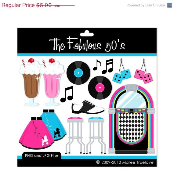 The Fabulous 50's Clipart - Digital Clip Art Graphics for Personal or ...