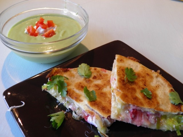 Chilled avocado soup and strawberry-leek quesadillas from A Farmer in ...