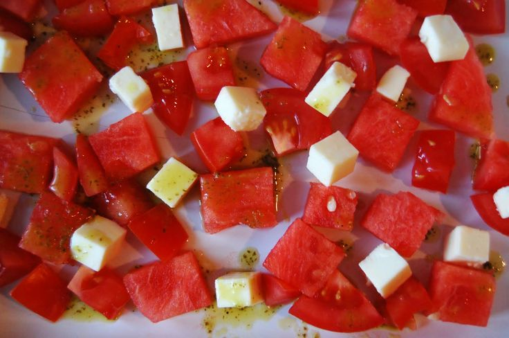 Watermelon Feta Tomato Salad: Tomatoes and watermelon are irresistibly ...