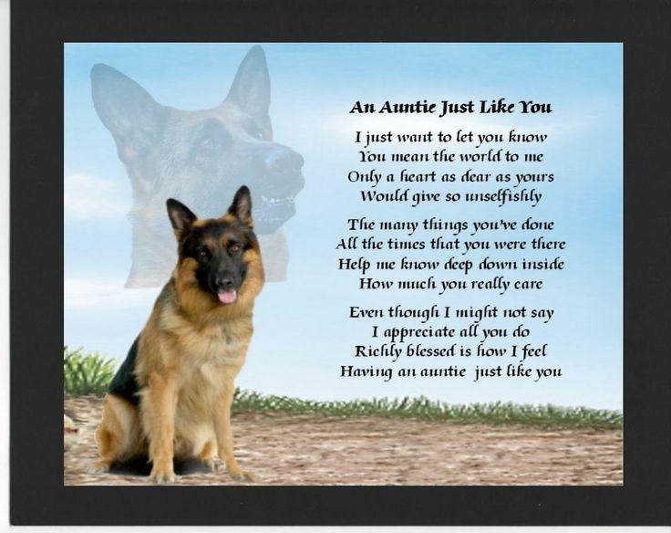 ... Mounted Poem Print - German Shepherd Dog Design - Auntie Poem