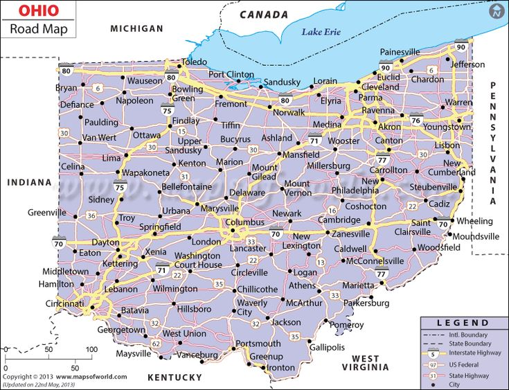 Ohio Road Map  Httpwwwmapsofworld  Pinterest