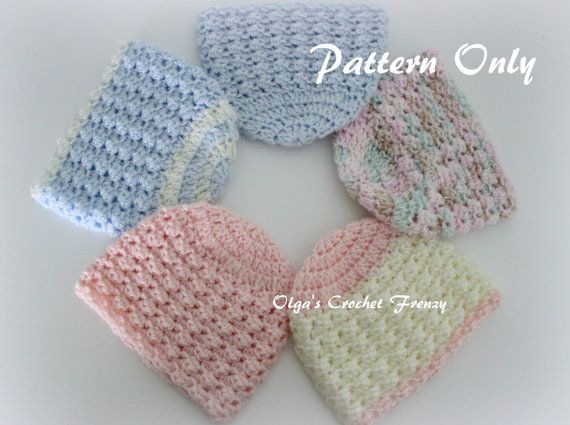 Crochet Patterns For Premature Babies : Preemie Baby Beanie Hat Crochet Pattern, Size Preemie, For ...