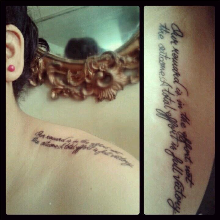 Tattoo Shoulder. Quote Gandhi.