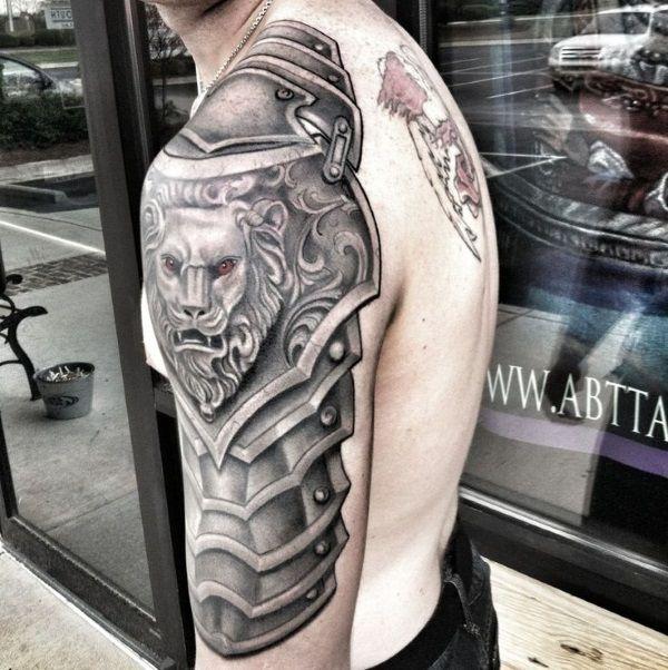 Татуировки доспехи на плечо для мужчин