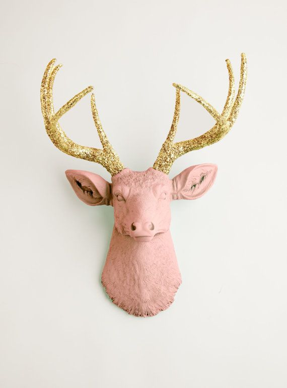 Faux Deer Head The Josephina Cameo Pink W Gold