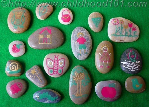 Story Stones - decorate them with simple images, then challenge your child to make a story out of them