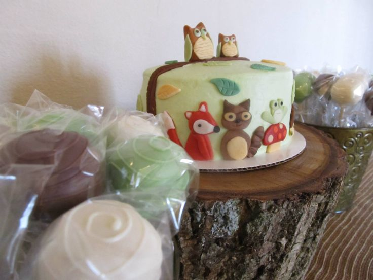 woodland animals baby shower cake