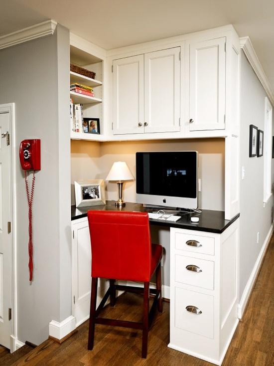 Kitchen built in desk station kitchen love pinterest for Built in kitchen desks ideas