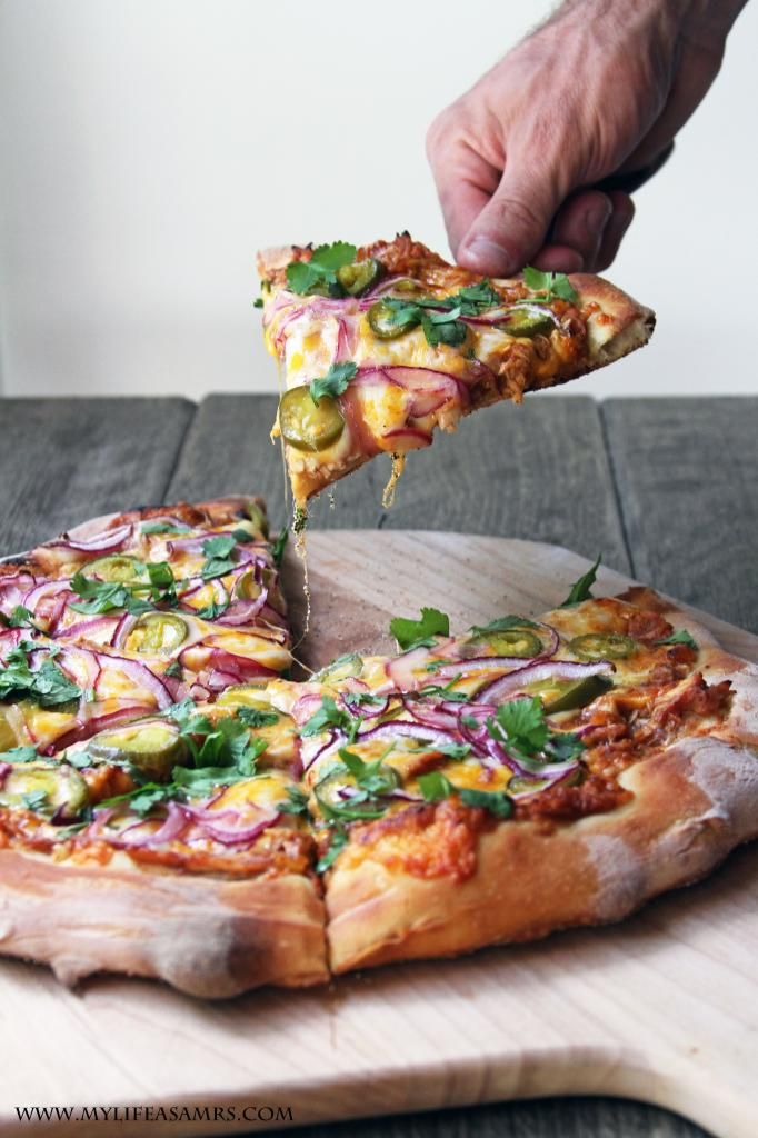Easy BBQ Chicken Pizza (with jalepeños!) would taste great with Sutter Home Sweet Red
