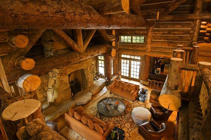 Living room log cabins pinterest for Log home interior designs pictures
