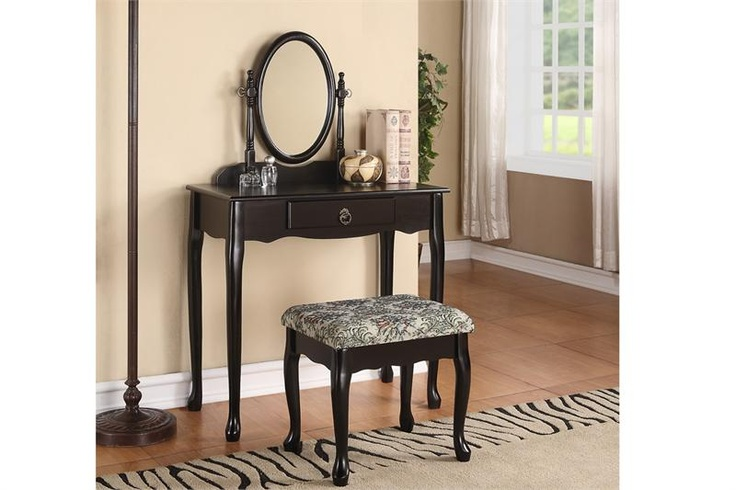 Carmel black makeup desk set make up vanity tables for Black makeup desk