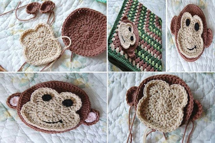 Crochet Baby Blanket Monkey Pattern : Monkey face Crochet - baby blankets Pinterest