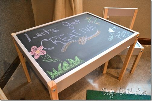 20 dollar ikea table black board paint. I should make one of these for my nieces and nephews