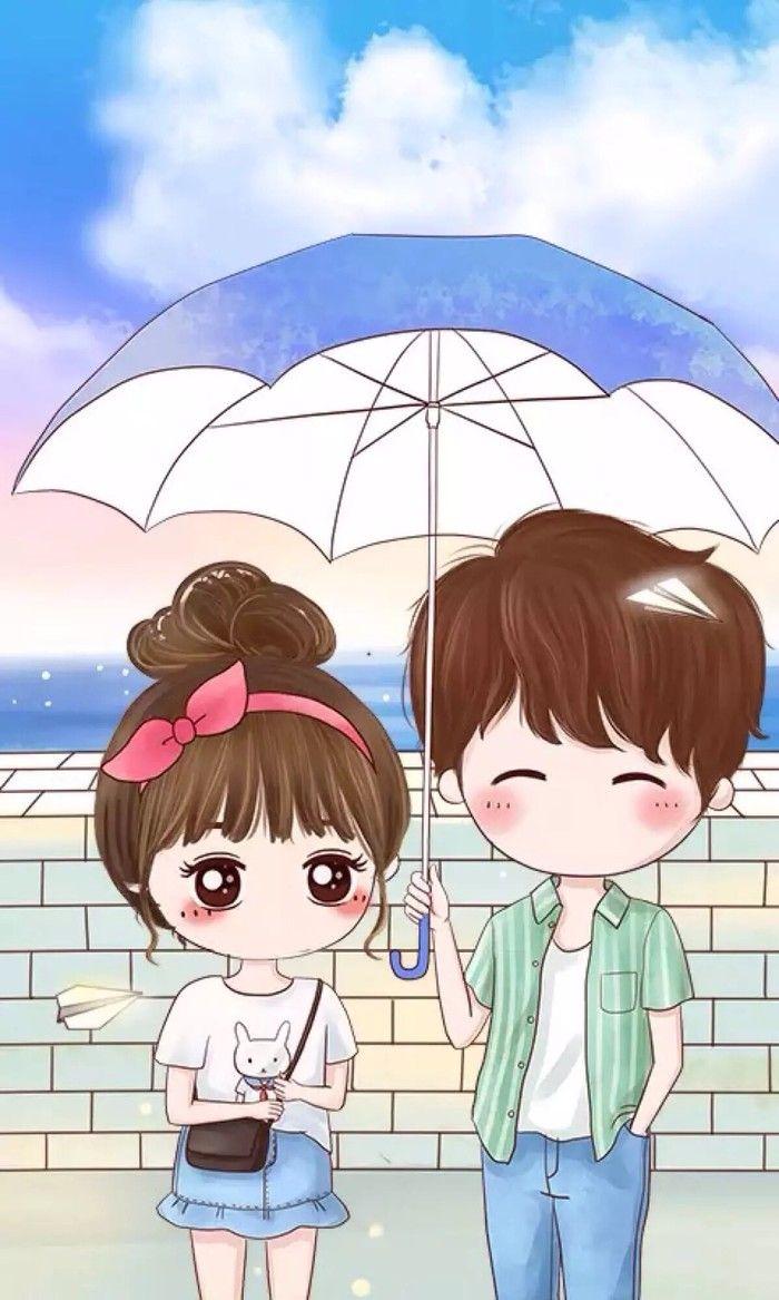 Sweet Cartoon Couple Wallpaper Kadada Org