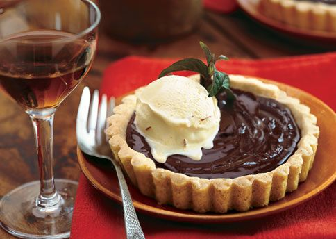 Chocolate Custard Tartlets in Almond Cookie Crust with Saffron Ice Cr ...