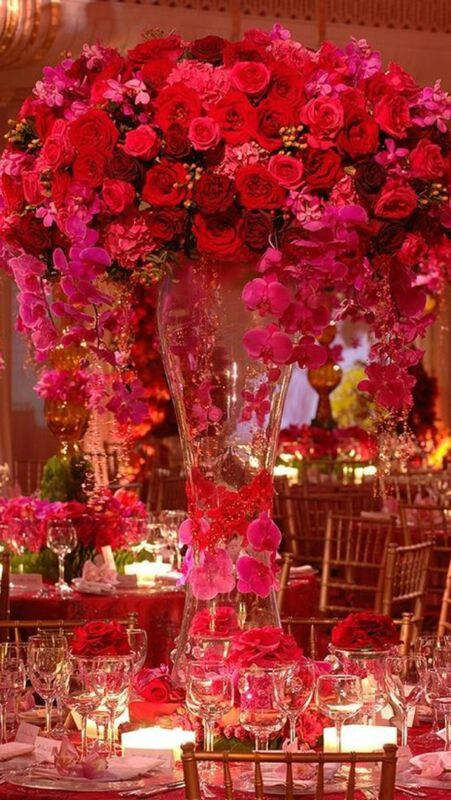 Red roses tall centerpieces wedding everything pinterest