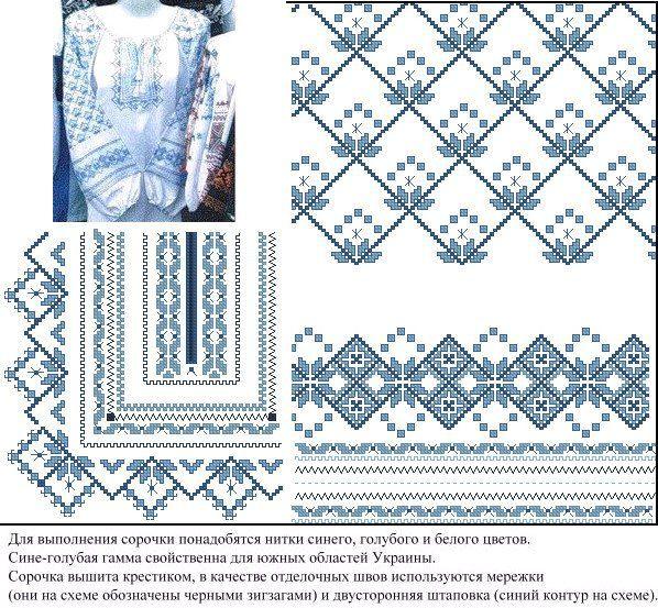 Схемы вышивок гладью рубашек
