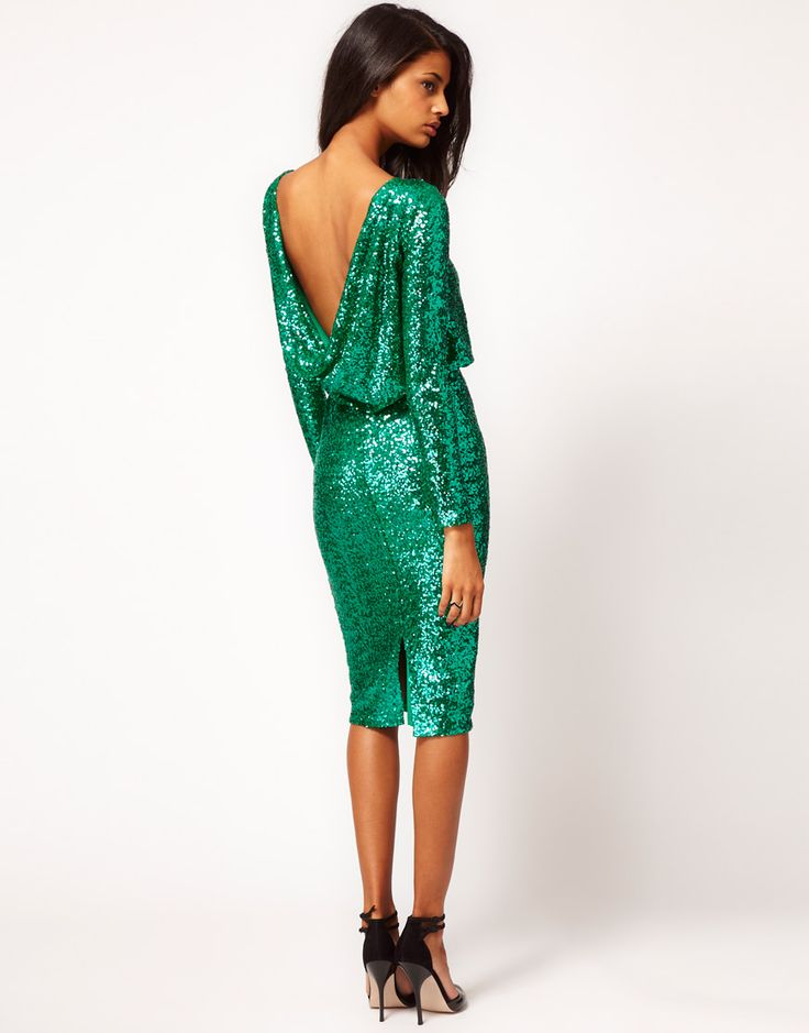 Green Sequin Dress by ASOS with cowl back - style with fur, big black bow, leopard print