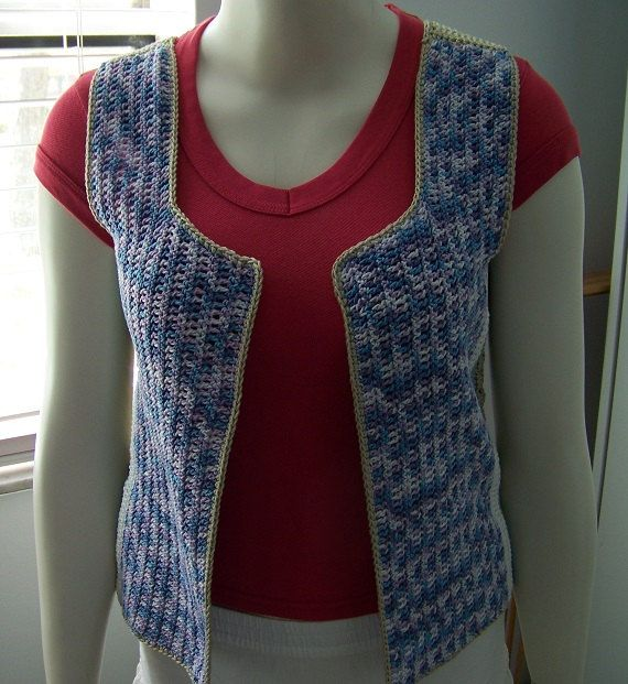Crochet Granny Square Vest Pattern : Vintage Crochet Multi Granny Square Vest Boho Retro Vest ...