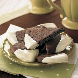 Dark Chocolate-Espresso Shortbread - Edges tipped with unsweetened ...