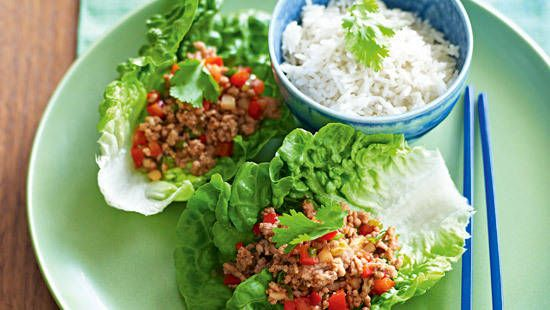 Hoisin pork in lettuce cups. Minced chicken works fine too. I use ...
