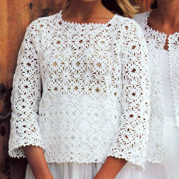 Crochet Granny Square Sweater Pattern : INSTANT DOWNLOAD PDF Vintage Crochet Pattern Granny Square ...