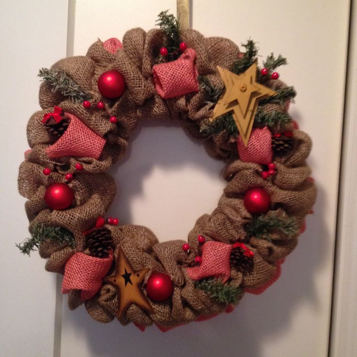Christmas burlap wreath crafts pinterest Burlap xmas wreath