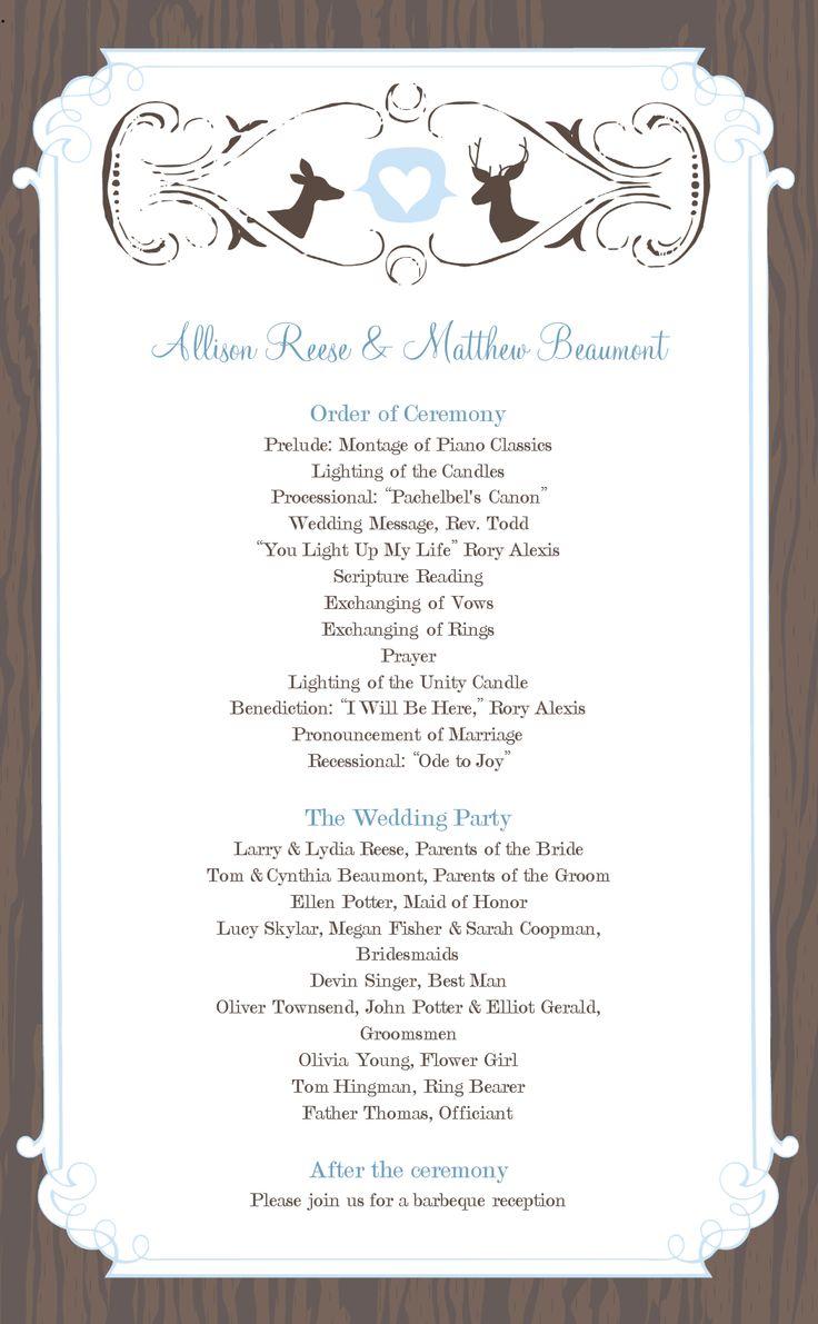 wedding program templates free online