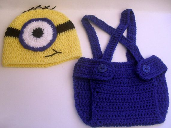 Crochet Patterns For Baby Overalls : Crochet Minion outfit-Minion crochet outfit-newborn,3-6mo ...
