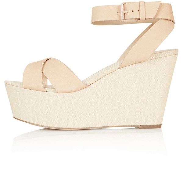 TOPSHOP WRECKAGE Cross-Over Flatforms ($100) liked on Polyvore