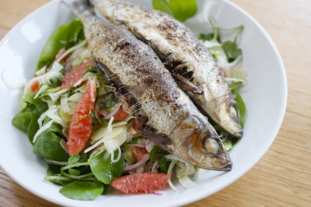 ... , seven: Grilled spiced sardines with fennel and grapefruit salad
